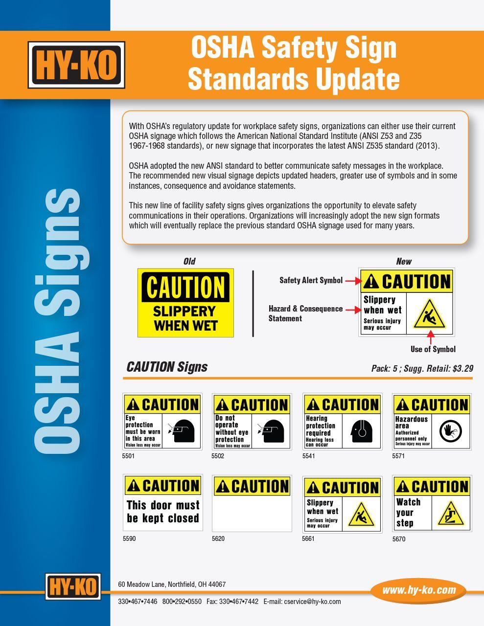 OSHA Safety Sign Strandards Update