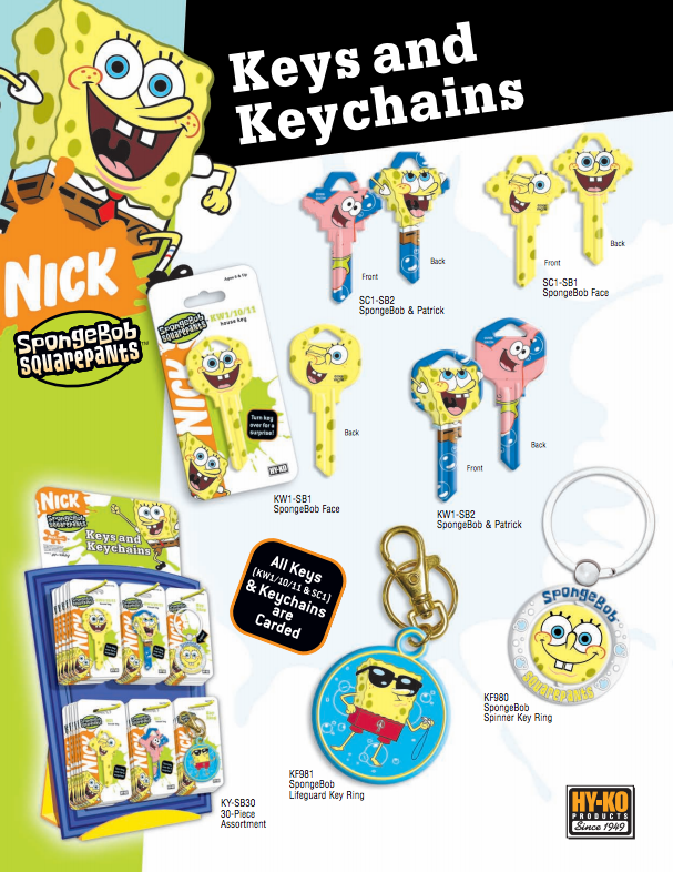 Spongebob Keys and Keychains