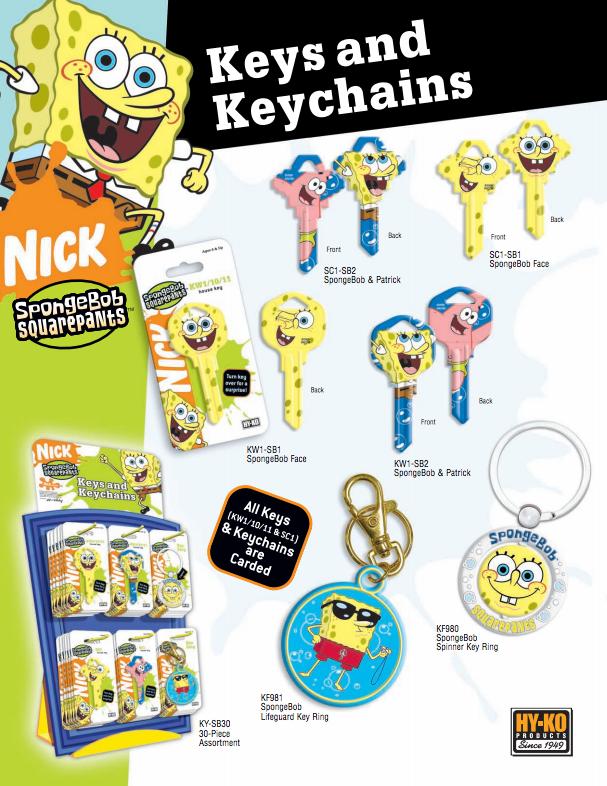 Spongebob Keys and Keychains